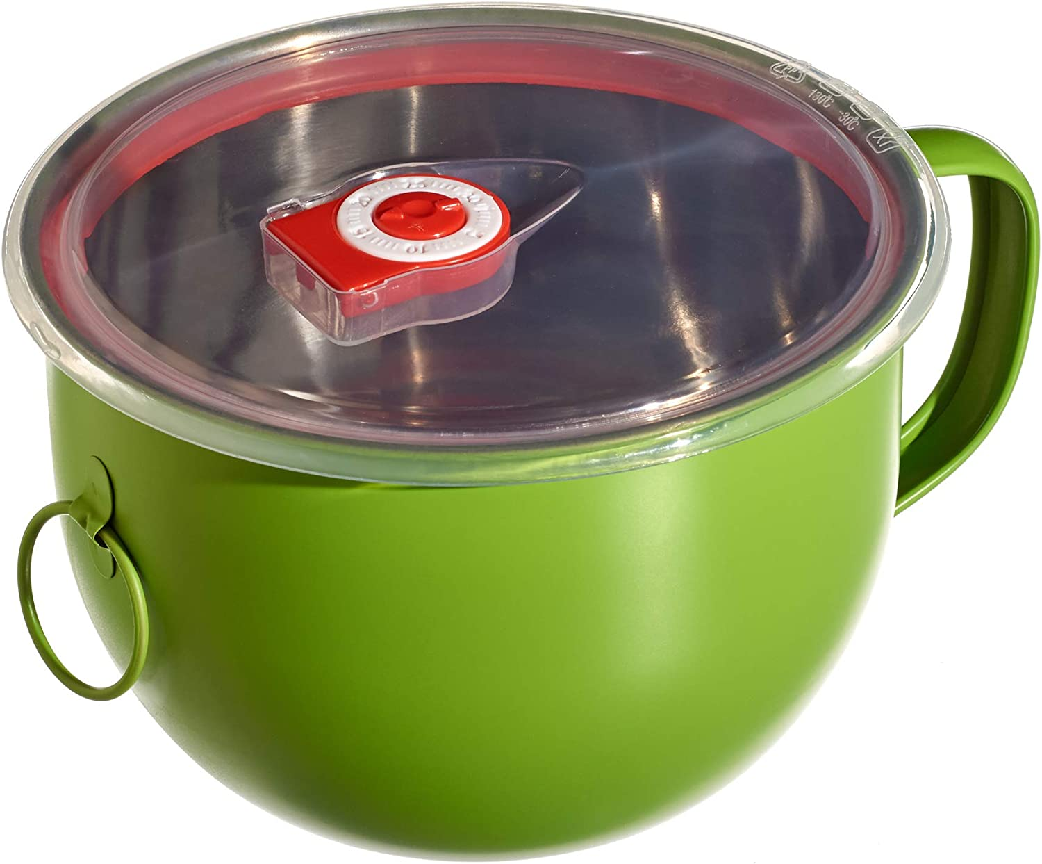 Green. Purple Bird International Stainless Steel Bowl with Handle and Leakproof Lid. 44 Ounce.Salad Bowl, Food Storage, Noodles, Soup, Mixing, Batter Prep Bowl, Bento, Ramen Noodle Cooker