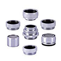 7 Pieces Faucet Adapter Kit, Srmsvyd Solid Brass Male/Female Sink Aerator Adapter Set for Garden Hose, Water Filter, Kitchen Faucet, Bathtub with removable aerator,Standard Hose via Diverter. …
