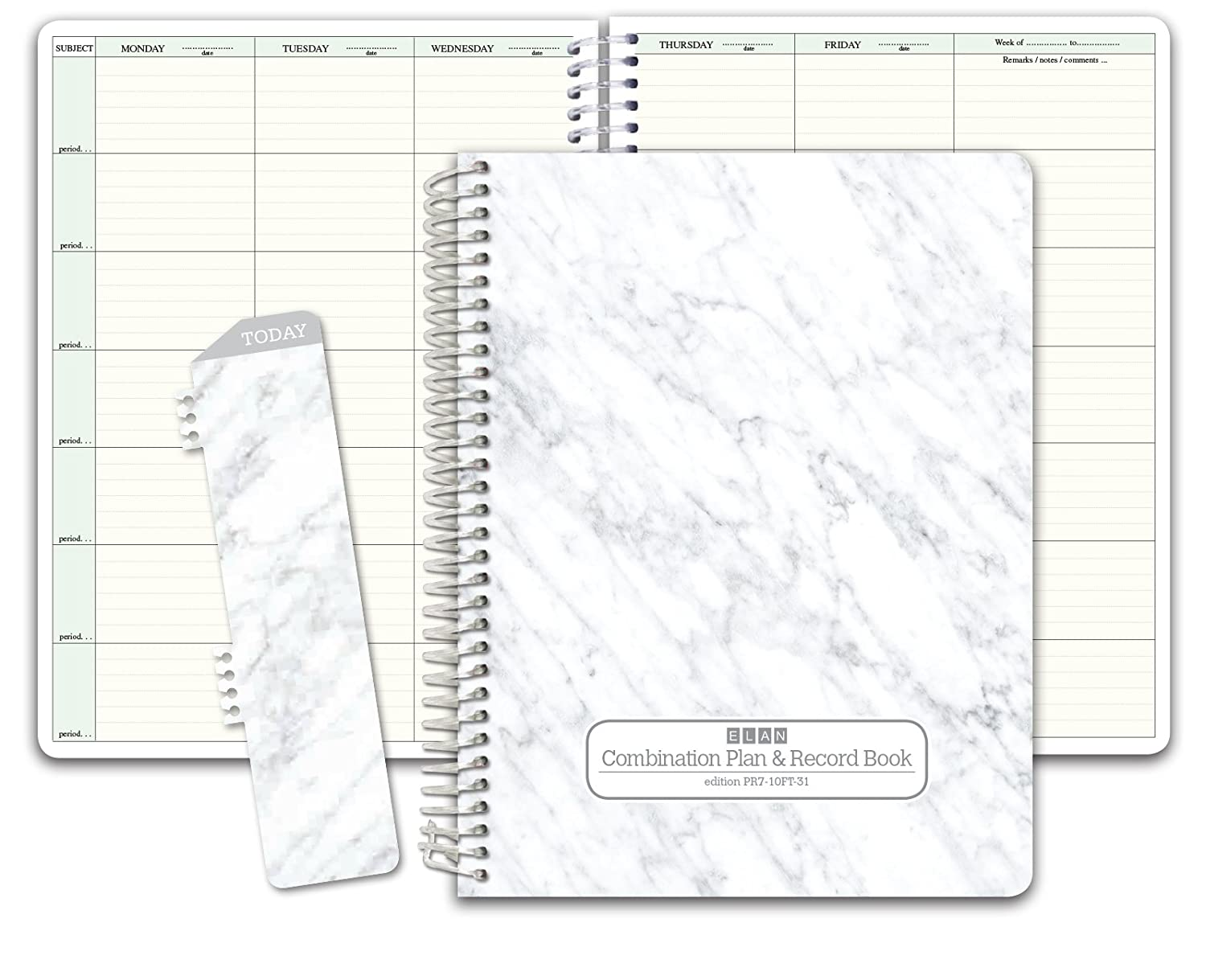 Combination Plan and Record Book: One Efficient 8.5 x 11 Book for Lesson Plans and Grades Combines W101 and R1010 (PR7-10) (+) Bonus Clip-in Bookmark (Grey Marble) Elan Publishing Company