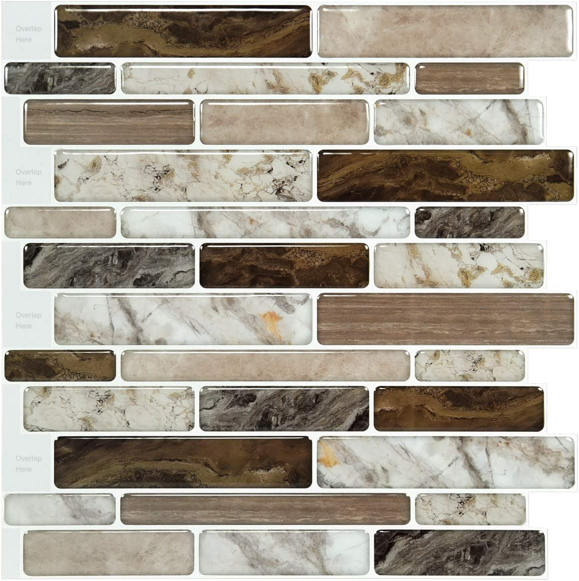 LONGKING Self-Adhesive Kitchen Backsplash, Marble Look Decorative Tiles (10 Tiles)