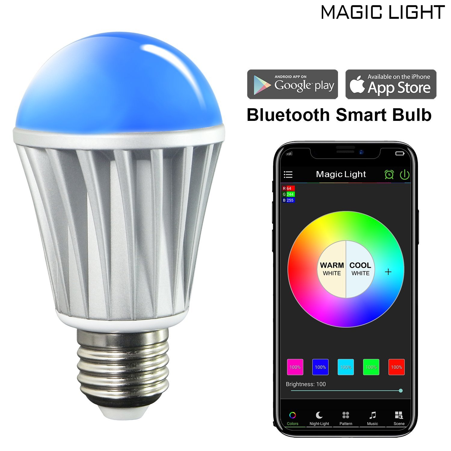 MagicLight Bluetooth Smart Light Bulb - 60w Equivalent Wake Up ...