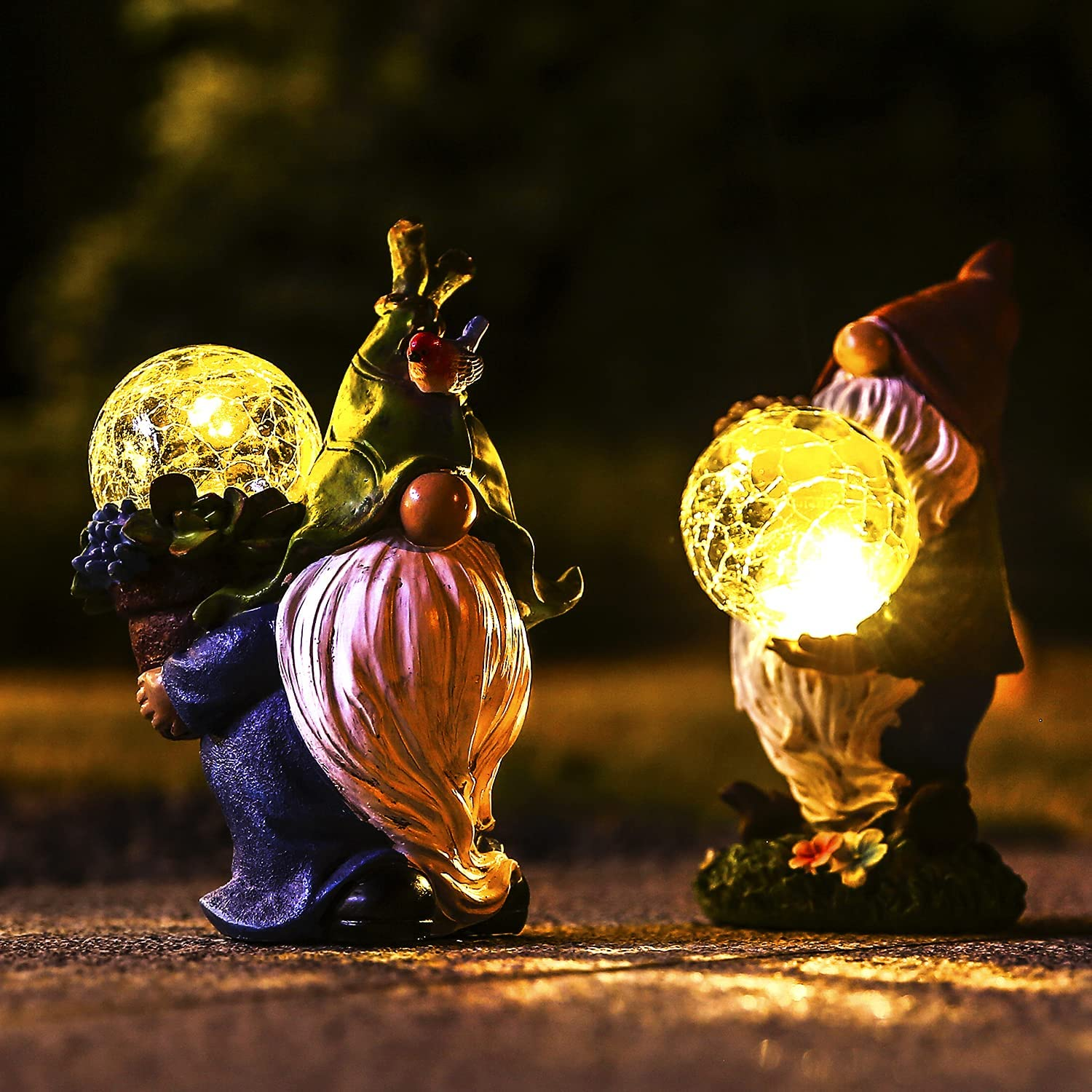 Garden Gnome Statue Outdoor Decor - 2 Pack Resin Gnome Figurine with Solar Lights Waterproof Outside Yard Decorations for Patio, Yard, Lawn, Ornament Gift