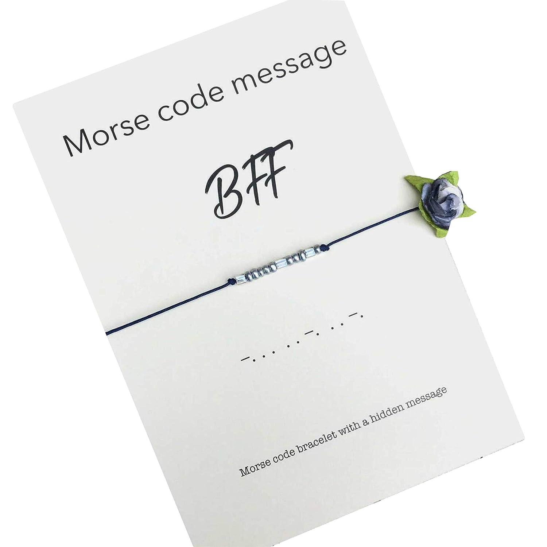 Birthday Gift for Friend BFF Bracelet Beaded Wish Bracelet MORSE Code Jewelry Friendship Bracelet Gift for Her BFF Morse Code Bracelet