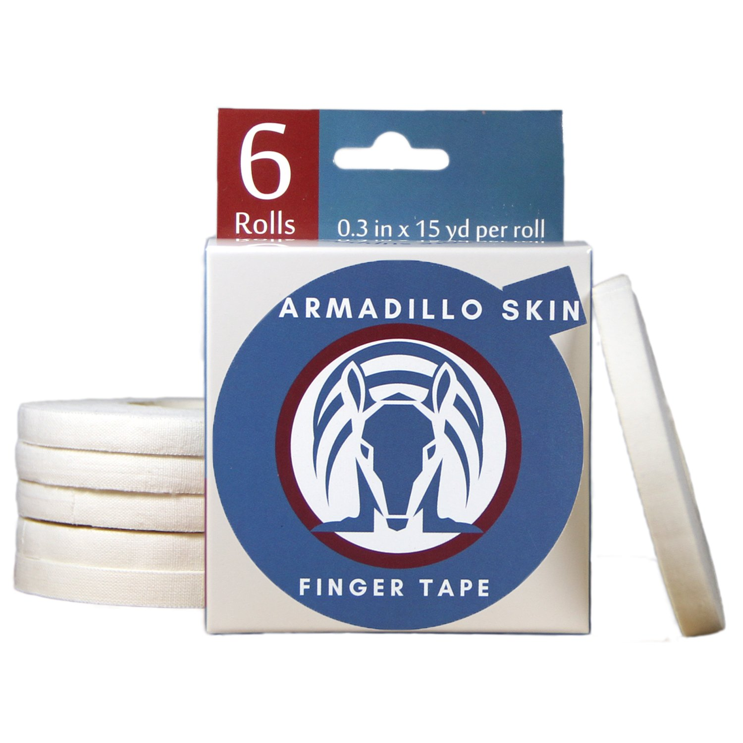 Armadillo Skin Finger Tape, Strong Cotton Athletic Tape for Grappling, Brazilian Jiu Jitsu (BJJ), Judo, Rock Climbing and MMA 0.3 in x 15 yds, 6 Rolls per Pack