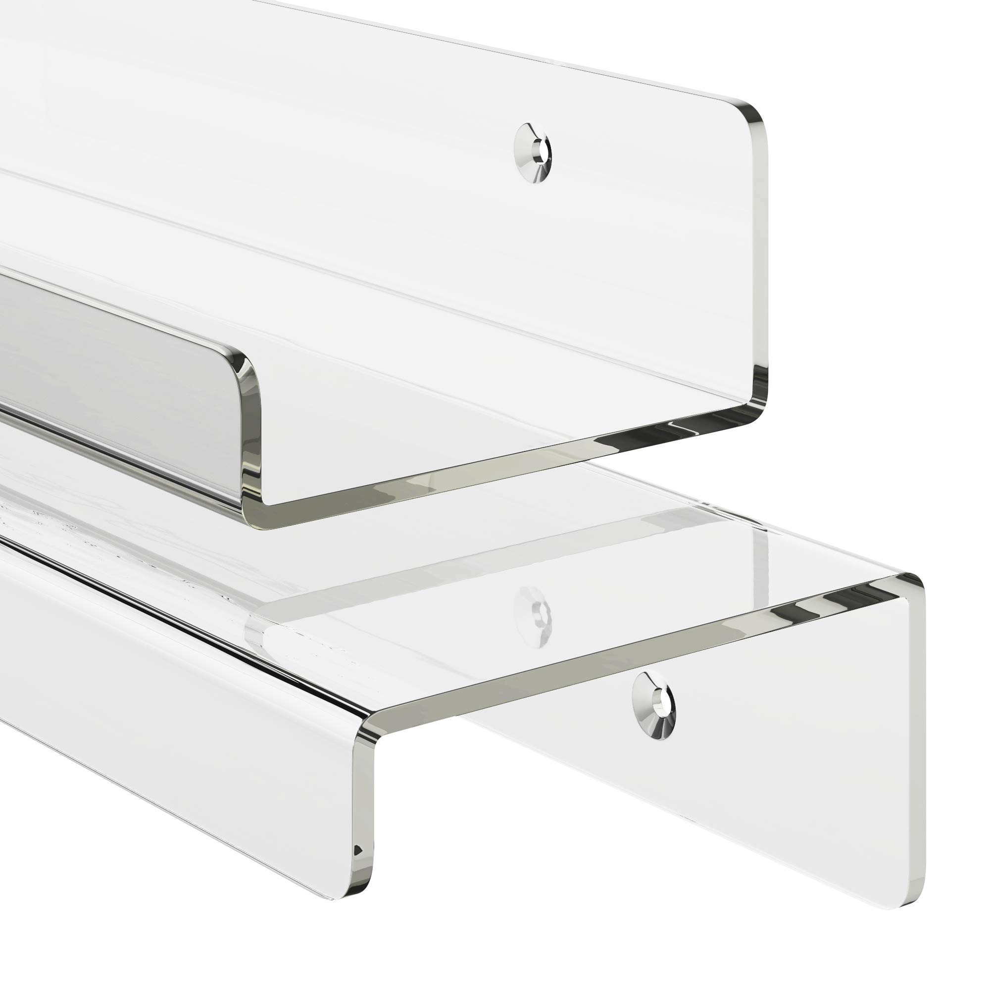 Unum Set of 2 Acrylic 24'' Invisible Floating Shelves for Wall; Clear Hanging Wall Display Shelf Ledges/Ledge - Vinyl LP Record Display Shelves - 24'' Long x 4'' Deep (2-Pack)