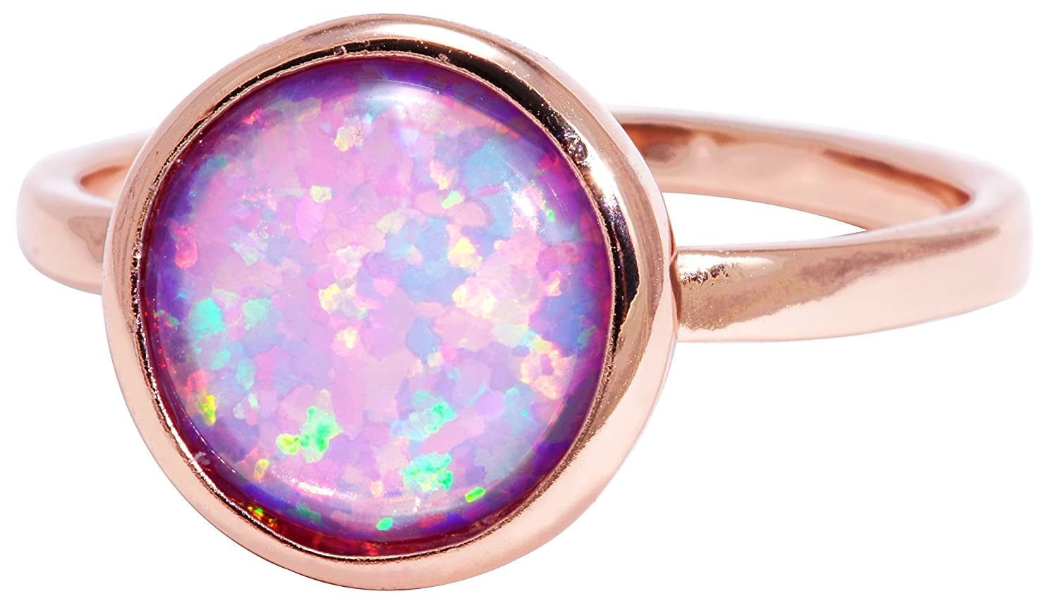 Created Opal 18k Rose Gold Clad Wholesale Gemstone Round Ring