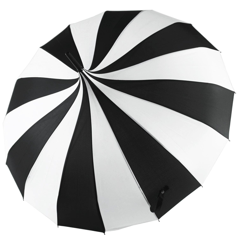 Kung Fu Smith Women Vintage Polka Dots Travel Stick Rain Pogoda Parasol Umbrella (Black White)