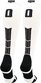 product image for MadSportsStuff White Player ID Custom Number Over The Calf Socks for Softball Baseball Football Boys and Girls