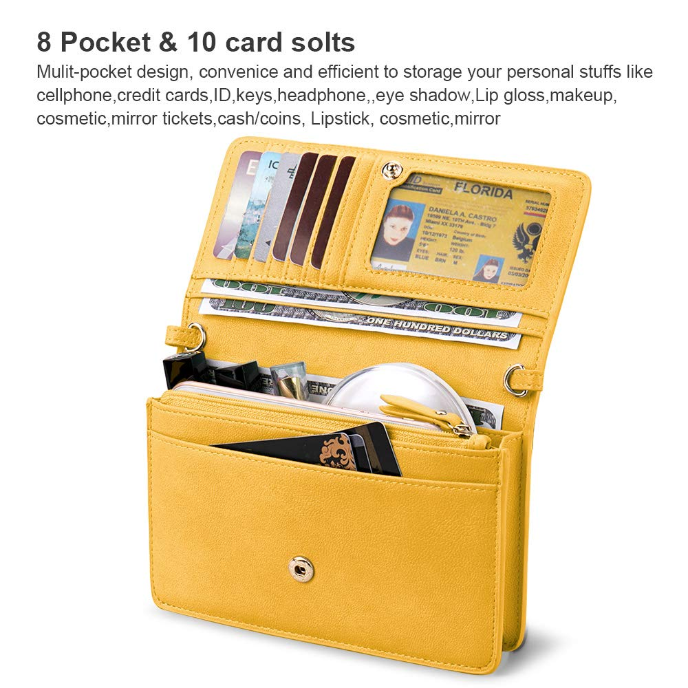 nuoku Women Small Crossbody Bag Cellphone Purse Wallet with RFID Card Slots 2 Strap Wristlet(Max 6.5'') … (Yellow) by nuoku (Image #3)