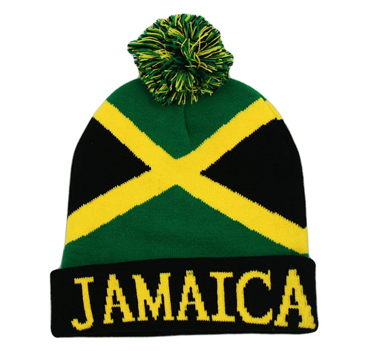 5e6c3419990 Itzu Bobble Beanie Knit Winter Hat Jamaica Rasta in Black Yellow and Green  at Amazon Men s Clothing store