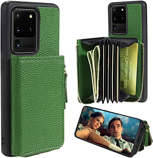 ZVE Samsung Galaxy S20 Ultra Wallet Case Dark Green Galaxy S20 Ultra Case Wallet Leather with Credit Card Holder Slots Crossbody Chain Wrist Strap Protective Cover Case for Galaxy S20 Ultra 6.9