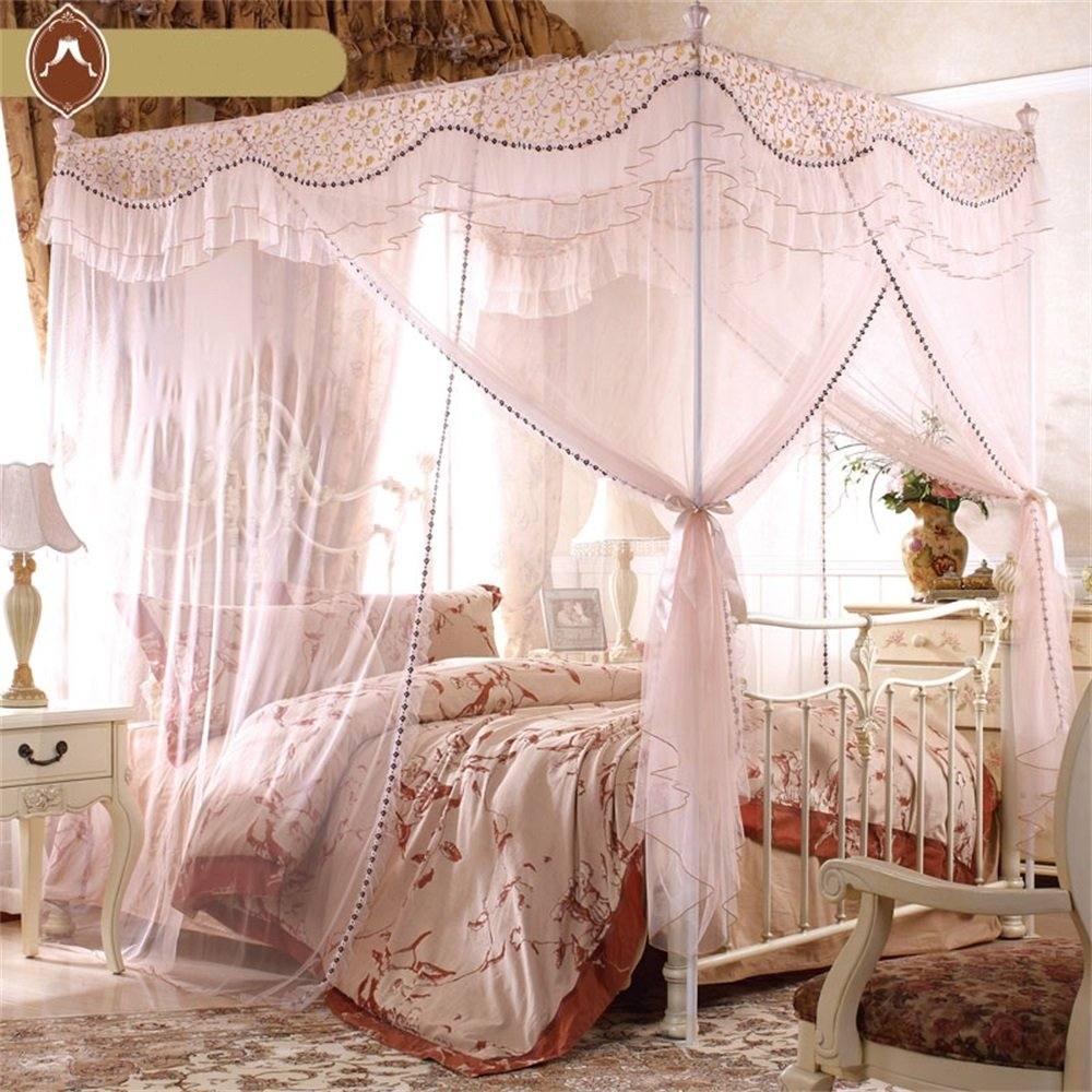 Royal- European Style Square Top Mosquito Net Three-door Encryption Thickening Home Double Bed Princess Style Apricot Color ( Size : 1.5m (5 Feet) Bed )
