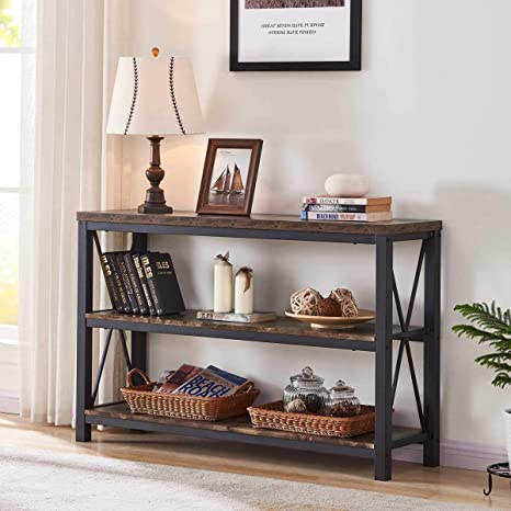 Superb Bon Augure Industrial Console Sofa Table 3 Tier Horizontal Entry Tables With Open Shelf Rustic Entryway Hallway Table For Living Room 47 Inch Dailytribune Chair Design For Home Dailytribuneorg