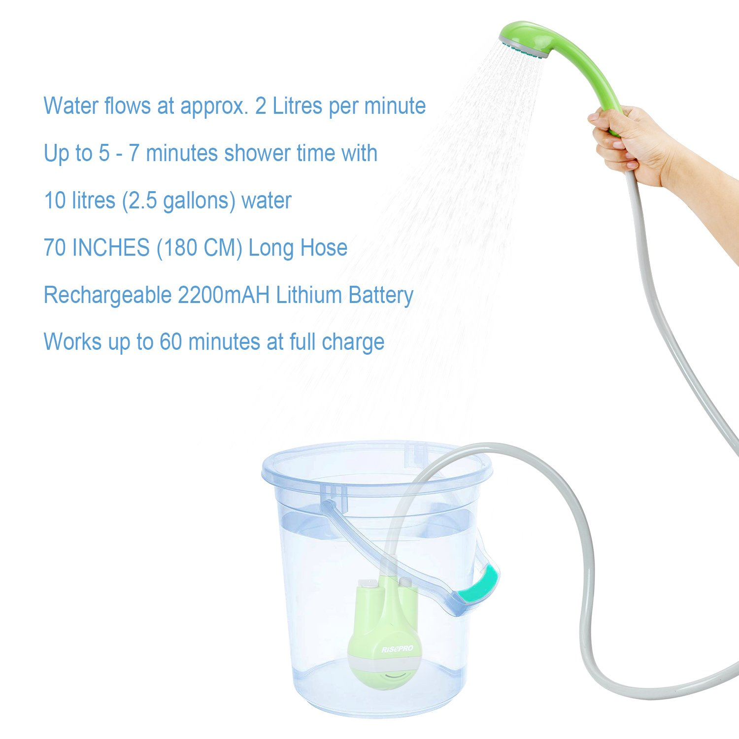 Portable Outdoor Shower Bidet Handheld Water Sprayer Portable Rechargeable Battery Powered 2200 mAh Battery Bidet Handheld Water Sprayer Portable