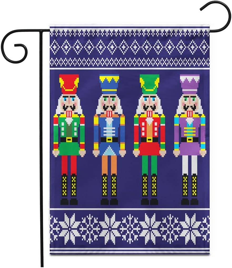 """Adowyee 28""""x 40"""" Garden Flag Christmas Jumper or Sweater Pattern with Nutcrackersnutcracker Ballet Dancer Dance Outdoor Double Sided Decorative House Yard Flags"""