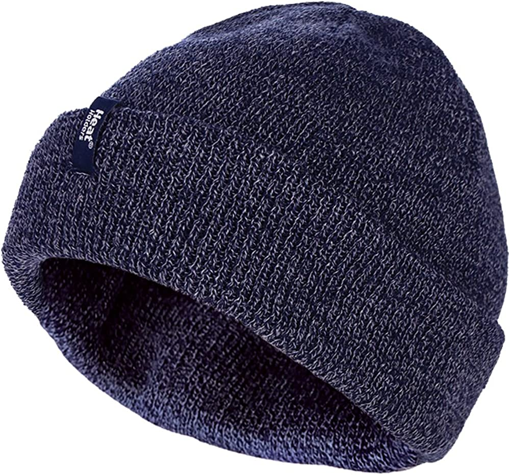 HEAT HOLDERS Mens 3.6 tog Fleece Lined Thermal Turn Over Cuff Winter Beanie Hat 3 Colours