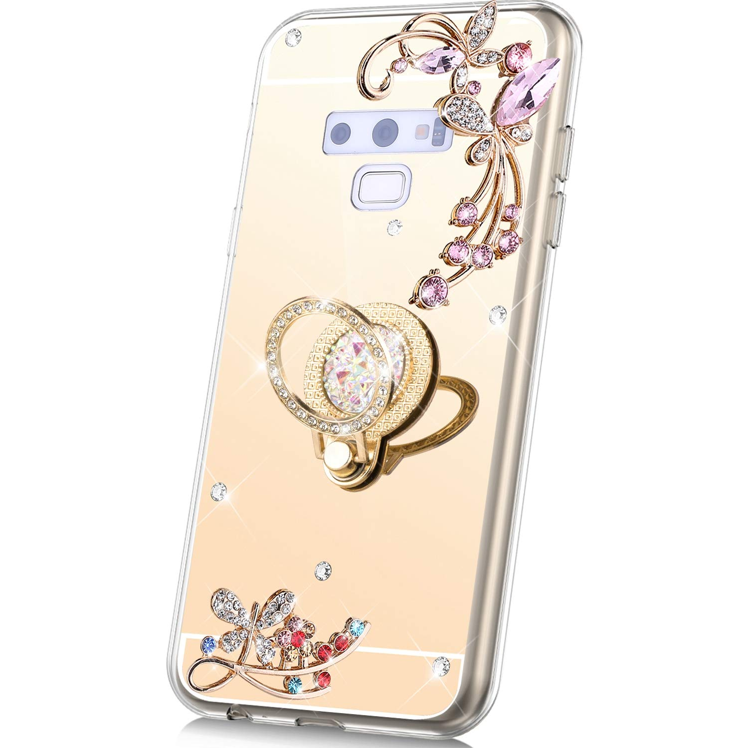 PHEZEN Case for Samsung Galaxy Note 9 Mirror Case,Bling Glitter Flowers Sparkle Rhinestone Mirror Back TPU Silicone Case Cover with Ring Kickstand Diamond Crystal Case for Galaxy Note 9,Gold by PHEZEN