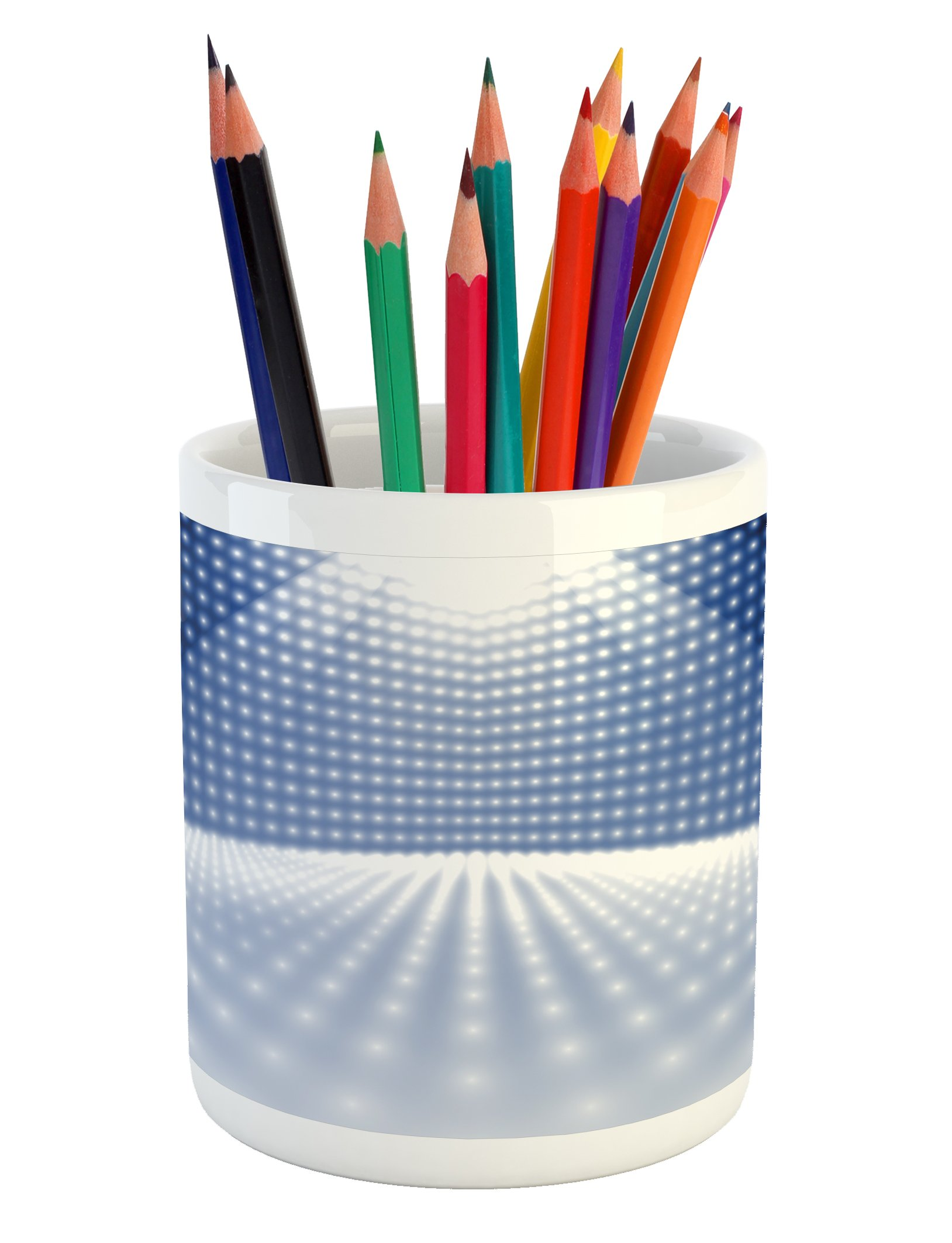 Lunarable Disco Pencil Pen Holder, Vibrant Dotted Stage Image Movie Theater Concert Performance Dance and Music, Printed Ceramic Pencil Pen Holder for Desk Office Accessory, Navy Blue White