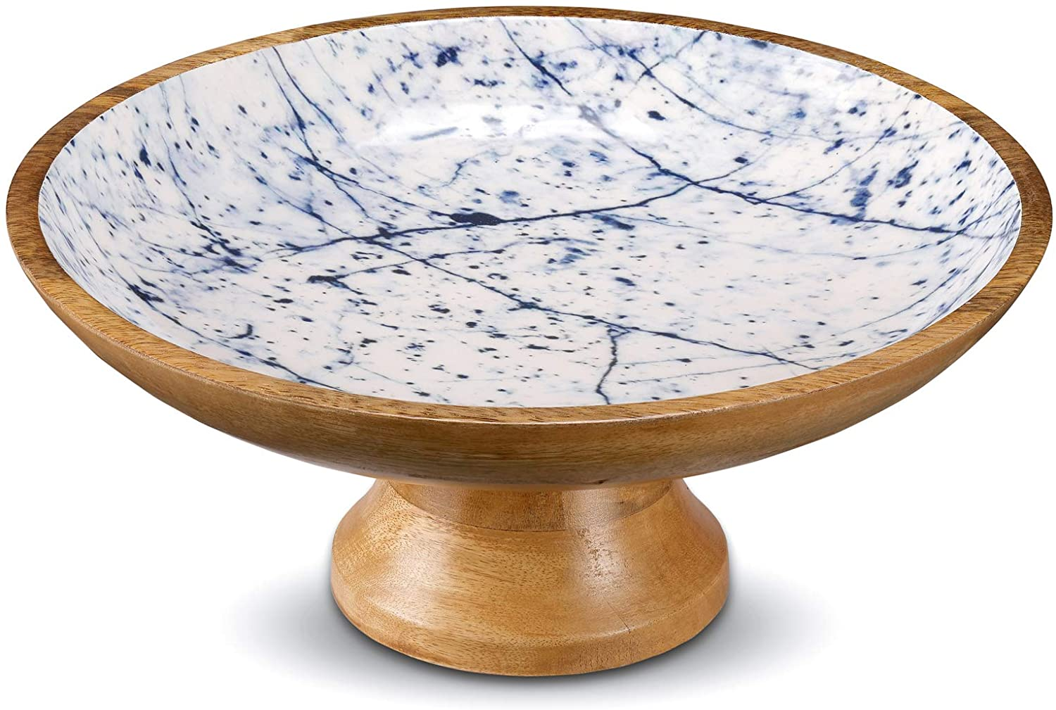 Wooden Fruit Bowl or Decorative Fruit Holder for Kitchen Counter or Centerpiece Table Decor, 12-inch Large Serving Bowls for Breads or Fruits, Mango Wood. Blue Marble