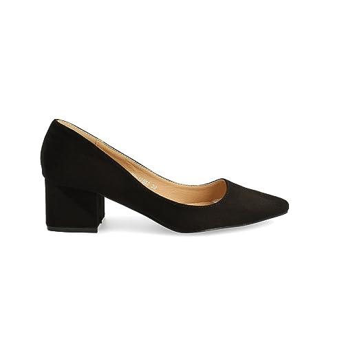 928b543b Zapato de tacón Cuadrado. Tipo salón Cerrado. Altura: 4 cm.: Amazon.es:  Zapatos y complementos