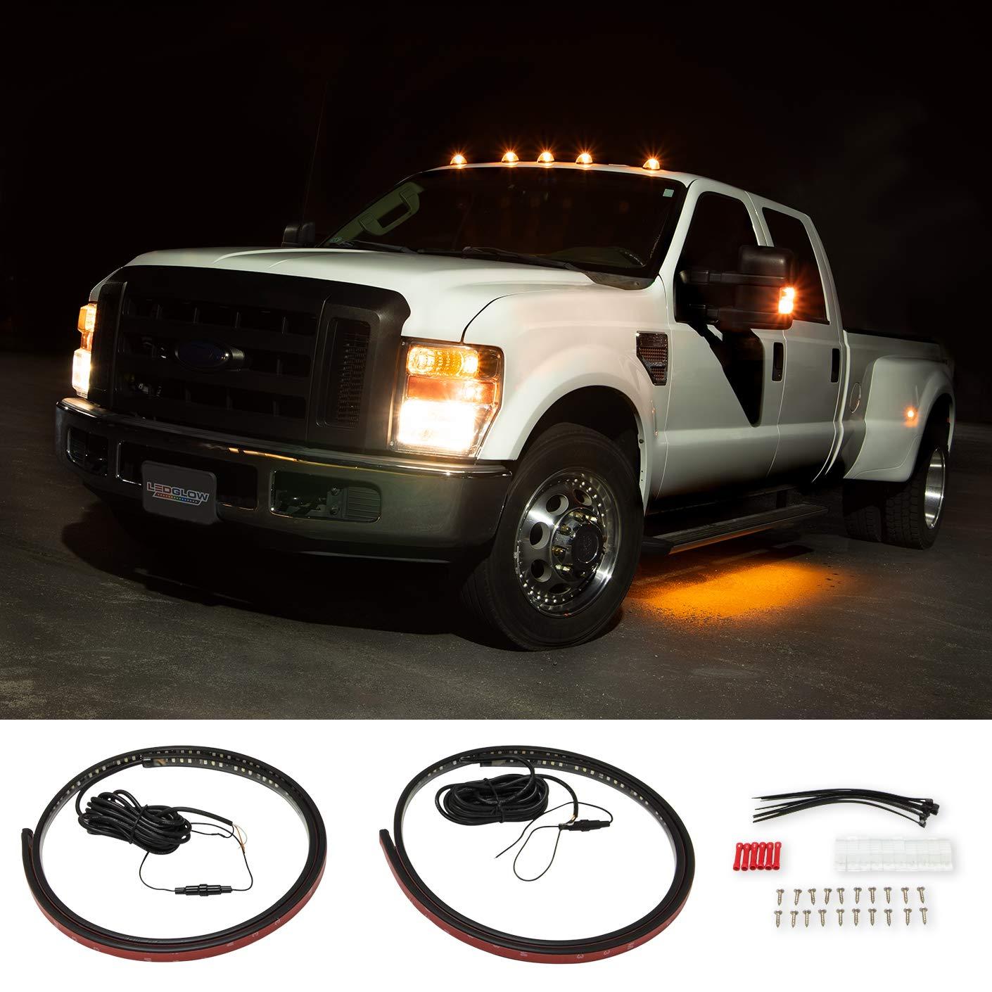 "LEDGlow 70"" Truck LED Running Board Light Amber Side Marker Kit with White Courtesy Lights for Extended & Crew Cab Trucks - Multi-Function Lighting - Flexible Waterproof Strips"