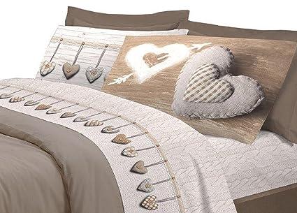 più recente cerca genuino godere di un prezzo economico COINGROSTEX Completo Lenzuola in Cotone, per Letto Matrimoniale 2 Piazze,  Modello Cuore Colore Beige