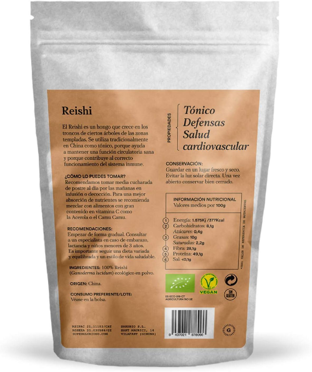 Glorioso Super Nutrients - Reishi en polvo Bio 100g – Tónico – Aliado antiestrés