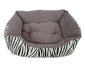 ASC - Cama para mascotas (tamaño grande), diseño de cebra, color gris: Amazon.es: Productos para mascotas