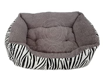 ASC - Cama para mascotas (tamaño grande), diseño de cebra, color gris