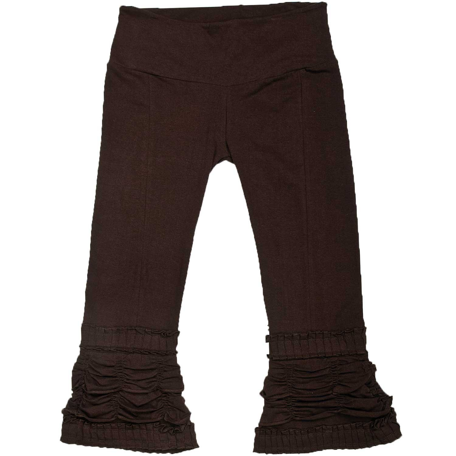 Lady Pirate's Fancy Cocoa Brown Ruffle Ruched Capri Pants - DeluxeAdultCostumes.com