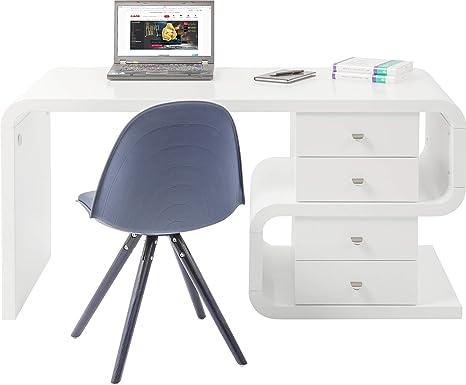 Kare Design Schreibtisch White Club Snake, großer, moderner Computertisch,  Laptoptisch, PC Arbeitstisch Organizer, Hochglanz, Weiß (H/B/T) 76x150x70cm