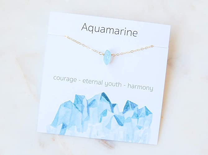 Aquamarine Crystal Gemstone Necklace 14K Gold Filled Birthday Gift For Her 16quot