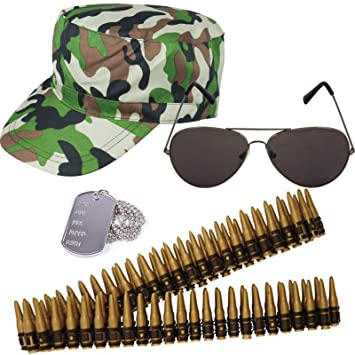 ARMY CAP AND DOG TAG NECKLACE CAMOUFLAGE HAT SOLDIER FANCY DRESS LADIES MENS
