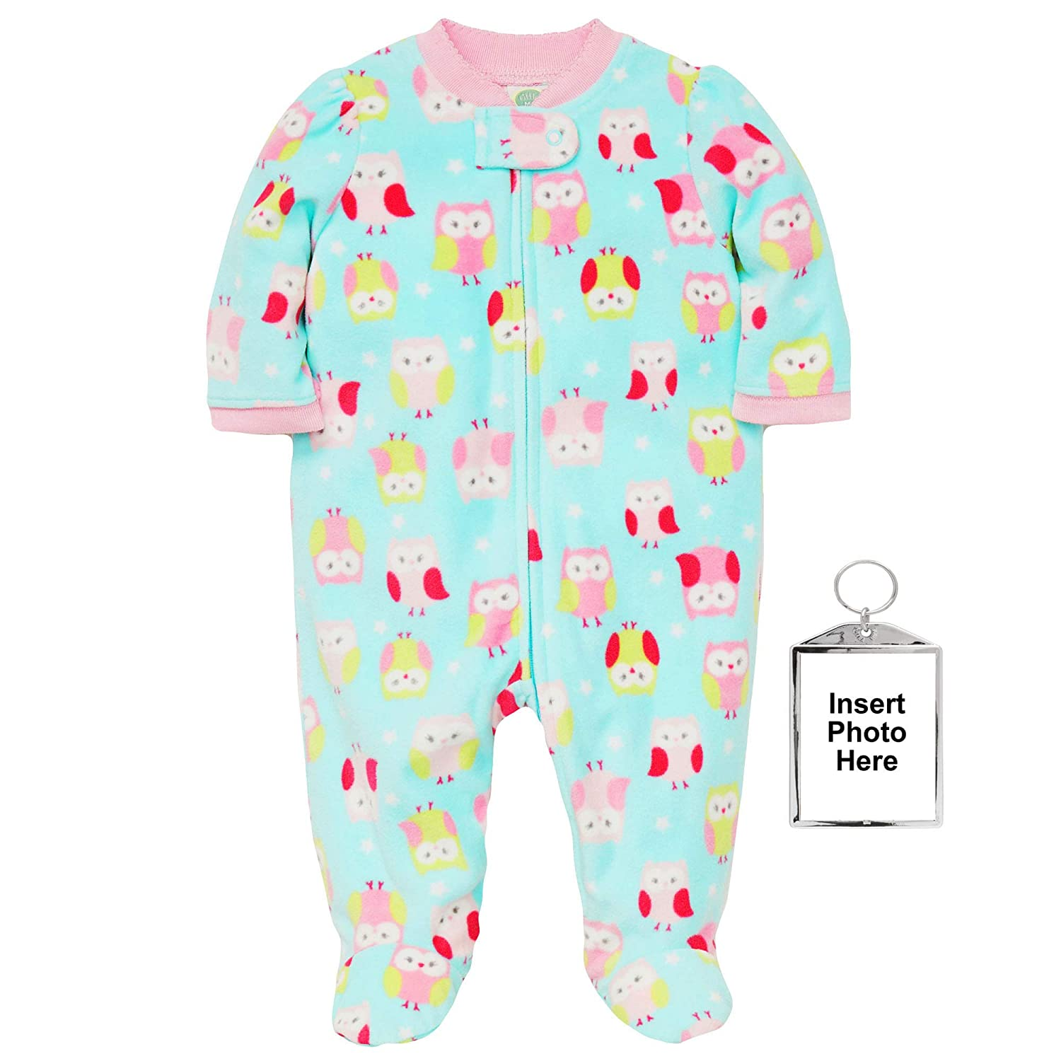 a489fd193b Amazon.com  Little Me Winter Fleece Baby Pajamas Footed Blanket Sleeper  Footie Owl Aqua 12 Month  Baby