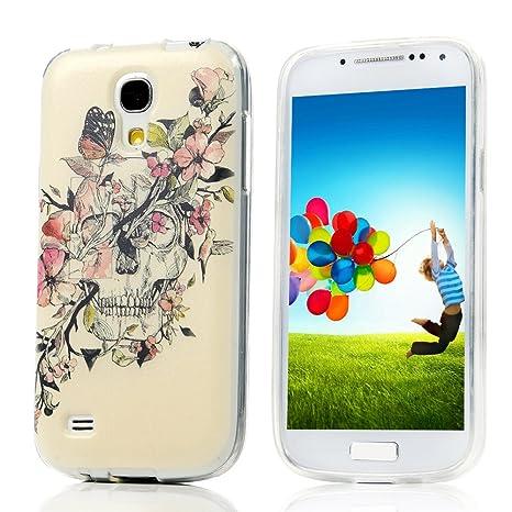ZSTVIVA TPU Carcasa Funda para Samsung Galaxy S4 Mini i9190 i9195 Suave Silicona Gel Cubierta Casa Estuche Cover Case Caso - Pintado Cráneo Flores ...