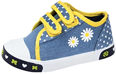 c1f1863658413 CHILDRENS GIRLS KIDS PUMPS PLIMSOLES PLIMSOLLS VELCRO CANVAS TRAINERS SHOES  BOBBIE DENIM SIZE 11