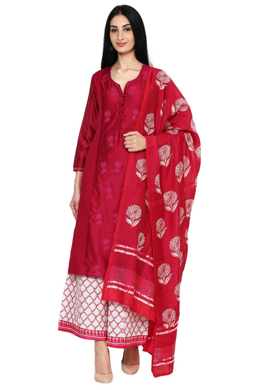 BIBA Women's Straight Cotton Silk Suit Set 32 Pink