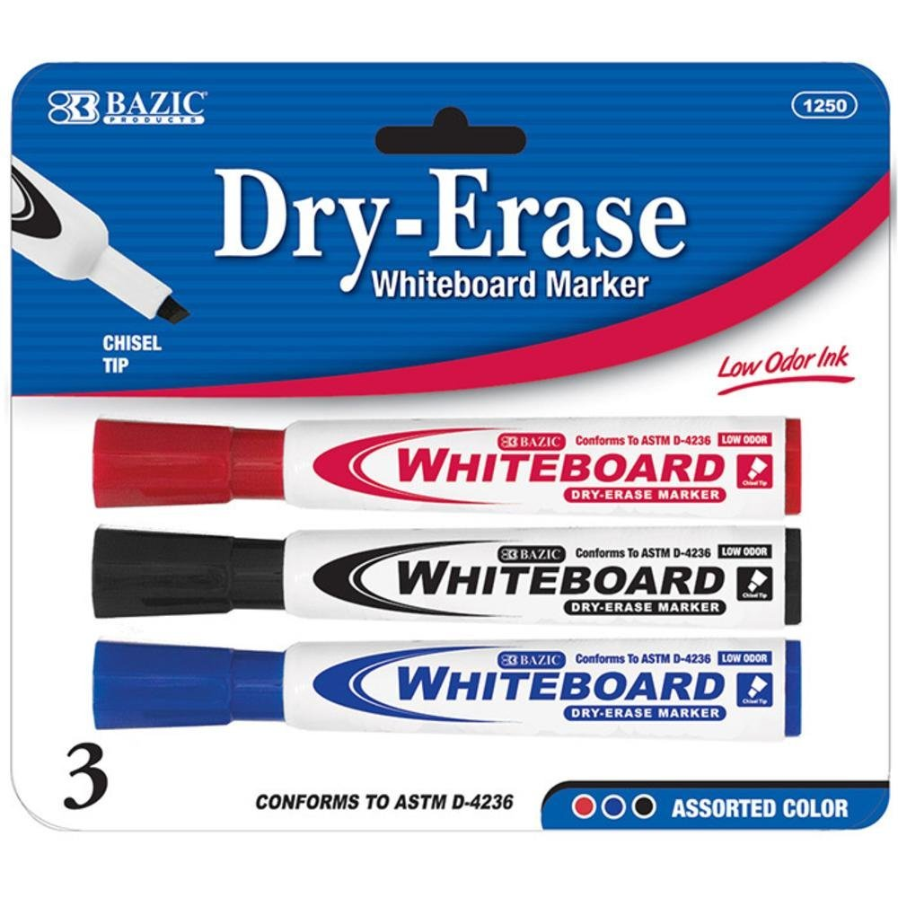 BAZIC Assorted Color Chisel Tip Dry-Erase Markers Case Pack 144