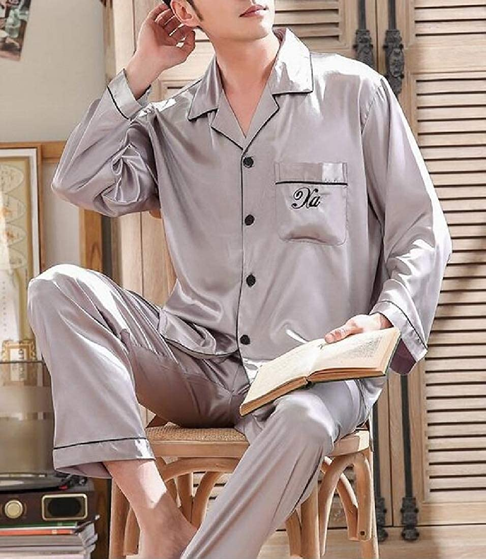 Sweatwater Men 2 Piece Lounge Loose Fit Sleepwear Long Sleeve Silk Pajama Set