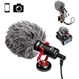 BOYA BY-MM1 Video Microphone Youtube Vlogging Facebook Livestream Recording Shotgun Mic for iPhone HuaWei Smartphone DJI Osmo Mobile 2,for ZHIYUN Smooth Q Smooth 4 Feiyu Vimble Canon Sony DSLR Cameras
