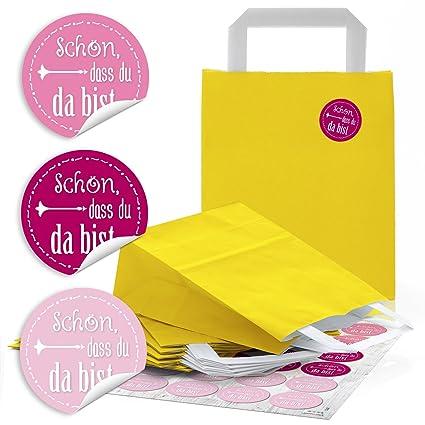 96 amarillas Papel bolsas de regalo (18 x 8 x 22 cm) Kleine ...