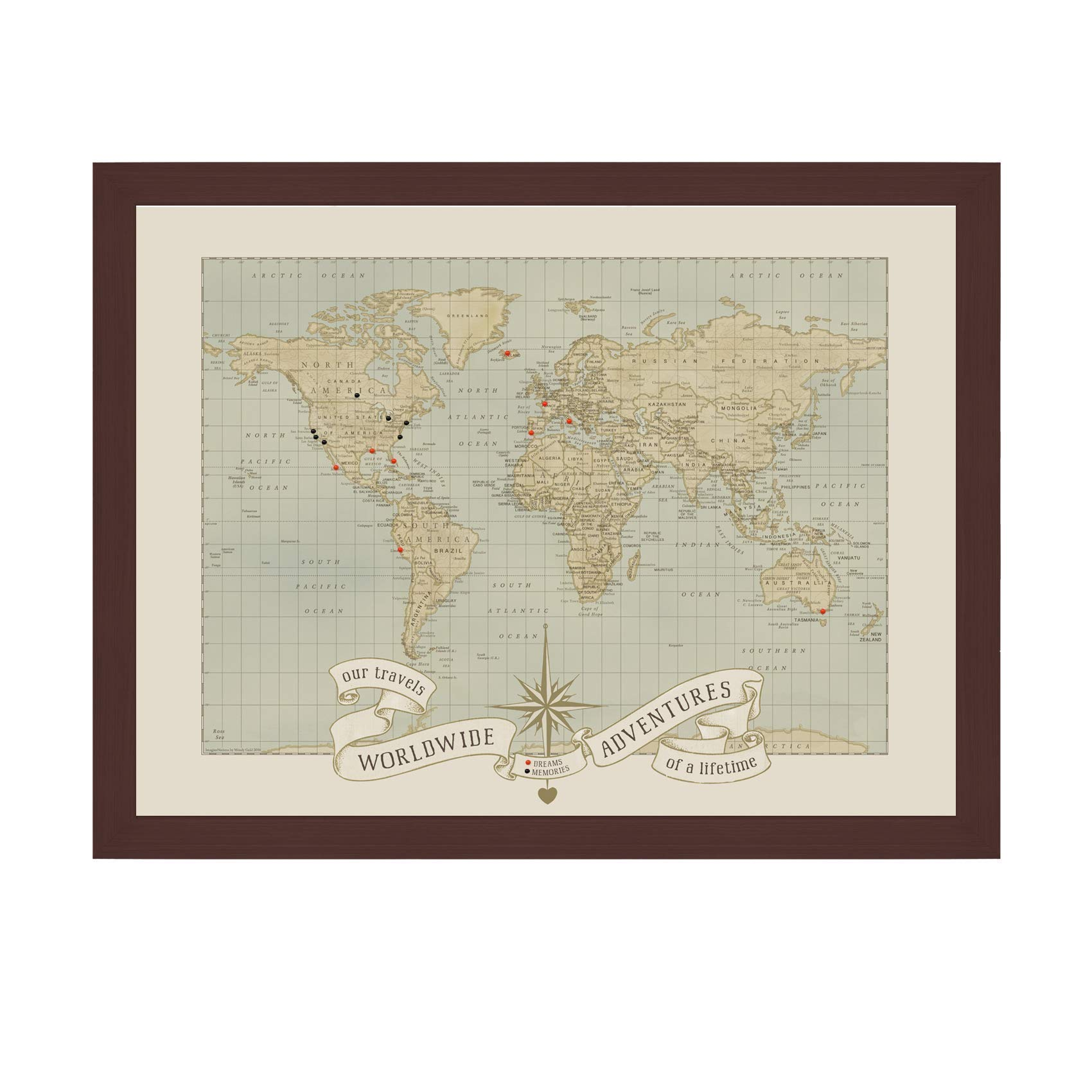 Push Pin World Map | Push Pin Travel Map, World | Handmade in USA | Push Pin World Travel Map | World Map Art Wall Decor | Large Wall Maps Of The World | World Map Pin Board by Wendy Gold Studios