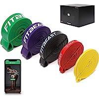 FitBeast Zestaw taśm oporowych, 5 różnych poziomów, taśma do podciągania z klamrą do drzwi i podkładkami, idealna do…