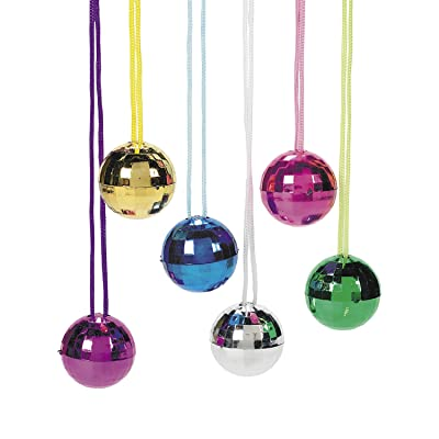 Fun Express Disco Ball Necklace Assortment - Jewelry - 12 Pieces: Toys & Games