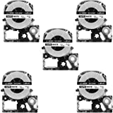 5 Pack Replace LK-4WBN LC-4WBN9(SS12KW) Label Tapes for Epson LabelWorks LW300 LW400 LW500 LW700 Black on White 1/2 Inch X 26.2 Feet(12mm x 8M),Read Comments If You Worry About Low-Scale Reviews!