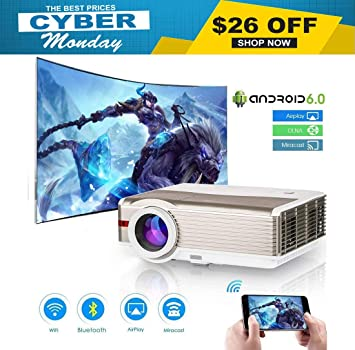 Amazon.com: Proyector, Proyector Bluetooth inalámbrico 5000 ...
