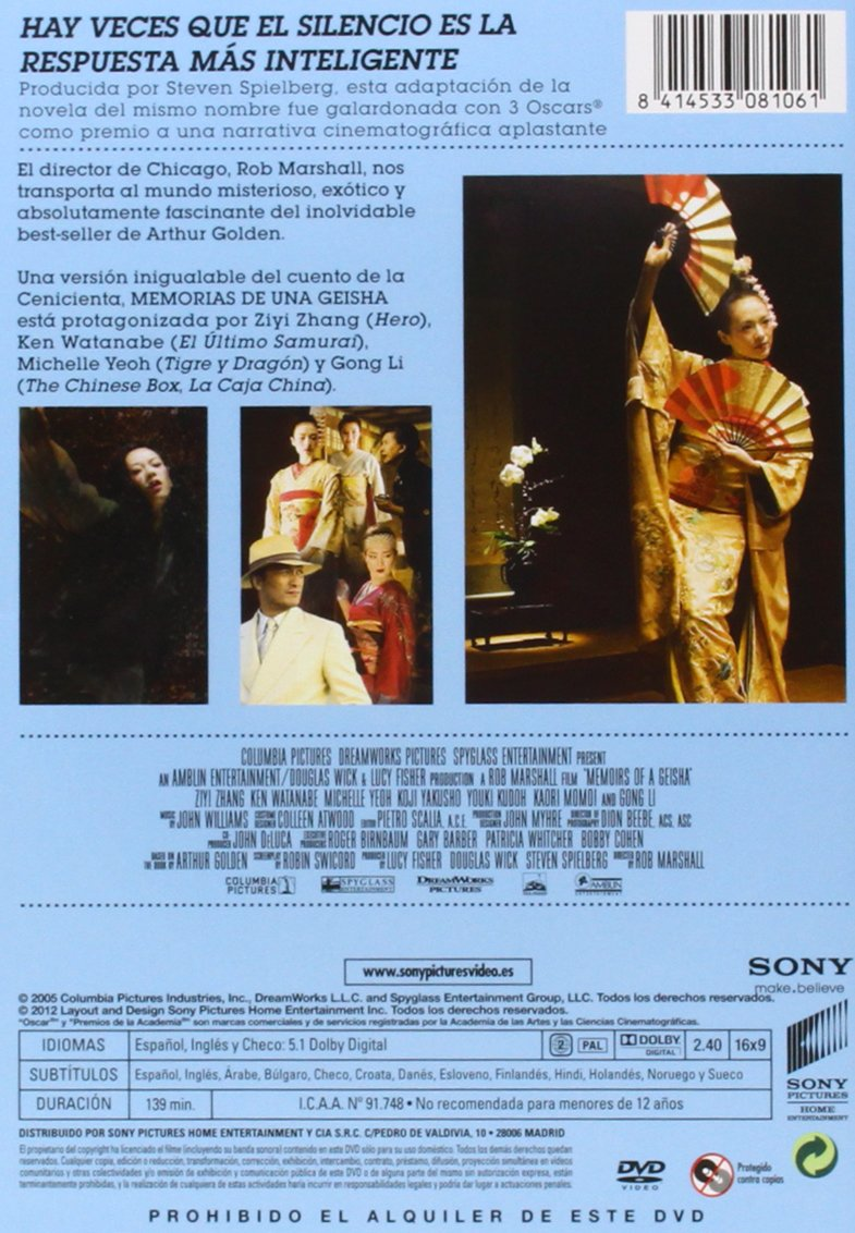 Memorias De Una Geisha [DVD]: Amazon.es: Mako, Suzuka Ohgo, Togo Igawa, Samantha Futerman, Elizabeth Sung, Rob Marshall, Lucy Fisher, Steven Spielberg: Cine ...