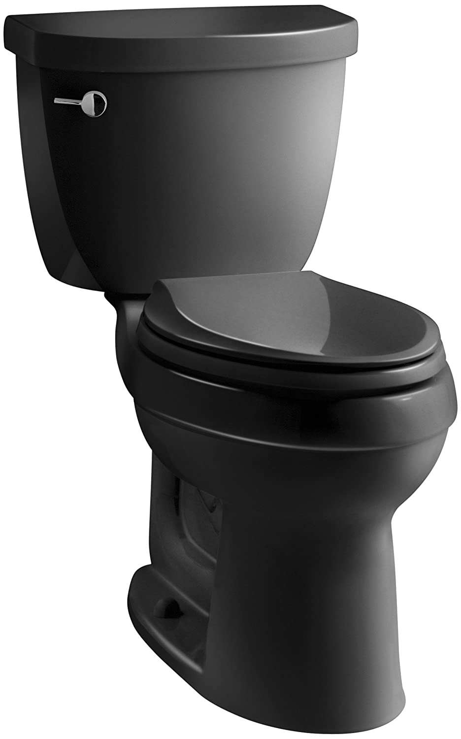 White Toilet With Black Seat. KOHLER K 3589 7 Cimarron Comfort Height Elongated 1 6 gpf Toilet with  AquaPiston Technology Less Seat Black Two Piece Toilets Amazon com