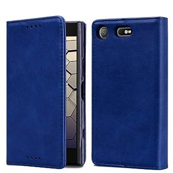 OJBKase Funda Sony Xperia XZ1 Compact, Premium Piel sintética Libro Billetera Carcasa Protectora Cartera [Soporte Plegable][Ranuras para Tarjetas] para Sony ...