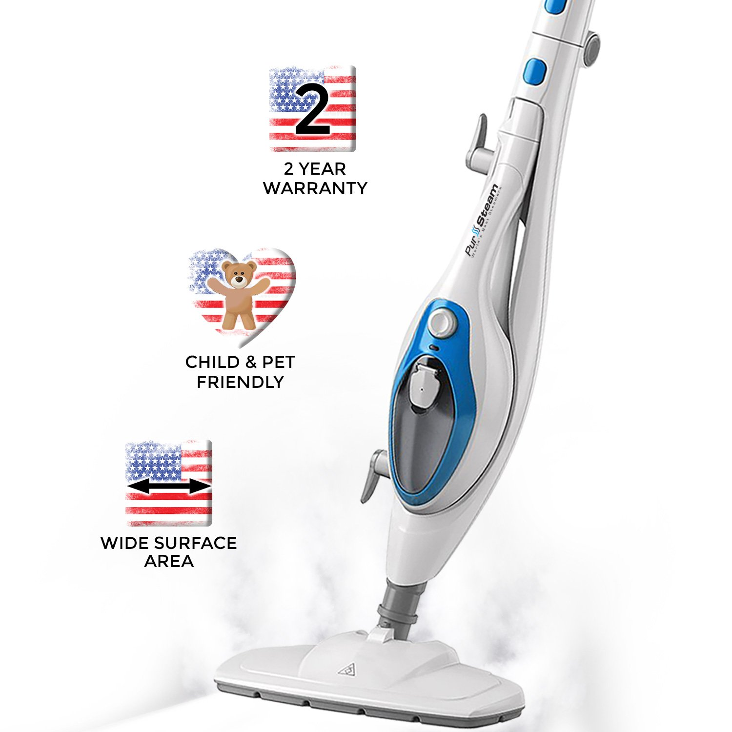 PurSteam Steam Mop Cleaner Steam Cleaning System ThermaPro